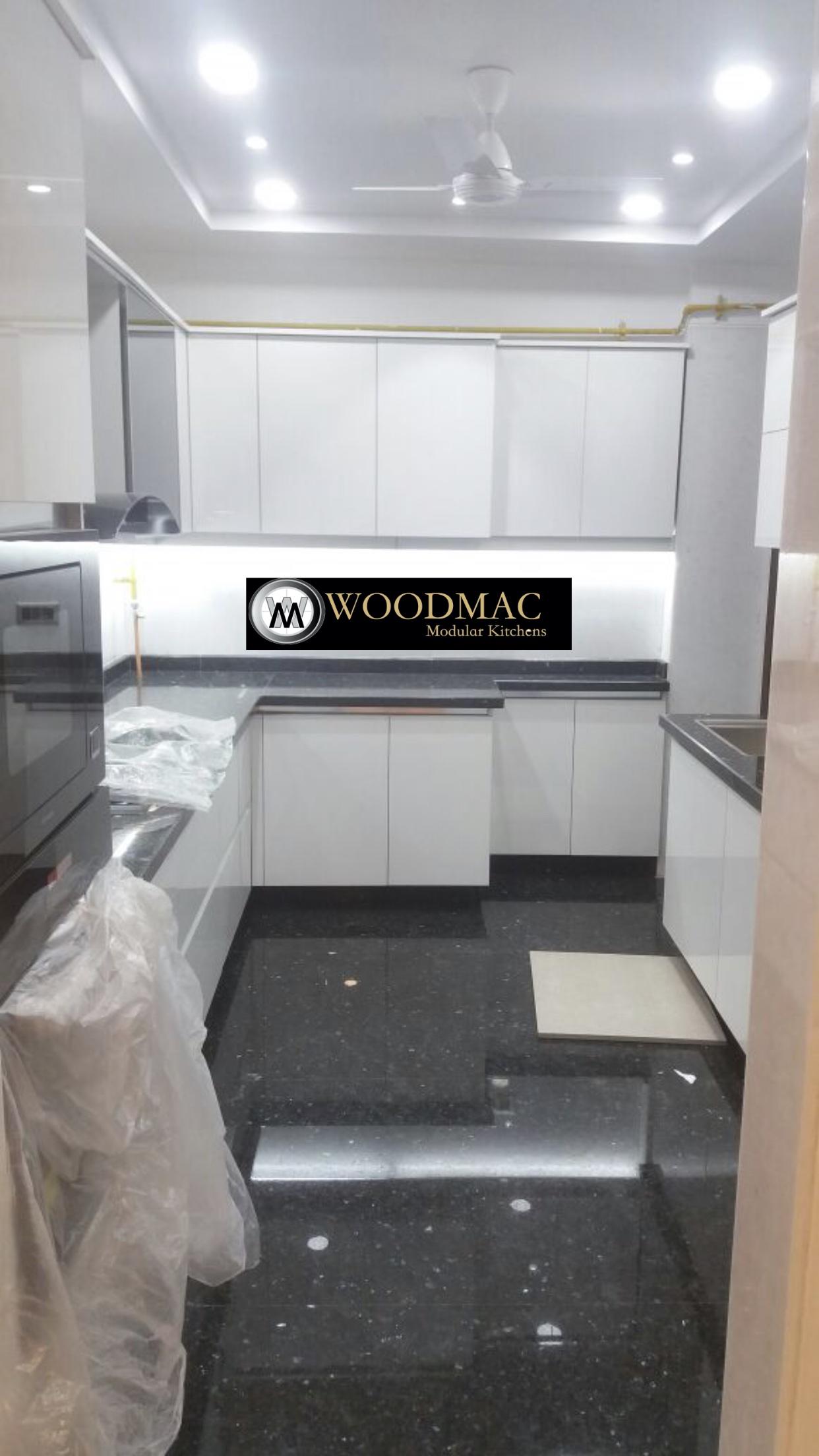 White Laminate Kitchen with Lights